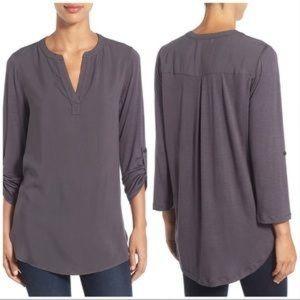 Pleione Split Neck Roll Sleeve Grey Tunic NWT